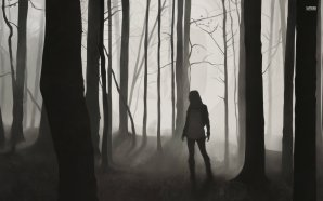 forest-tree-fog-night-darkness-woman