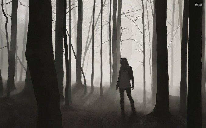 forest-tree-fog-night-darkness-woman